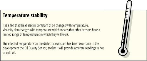 Temperature stability of oil quality sensor